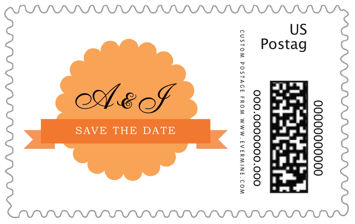 custom large postage stamps - tangerine - luxe (set of 20)