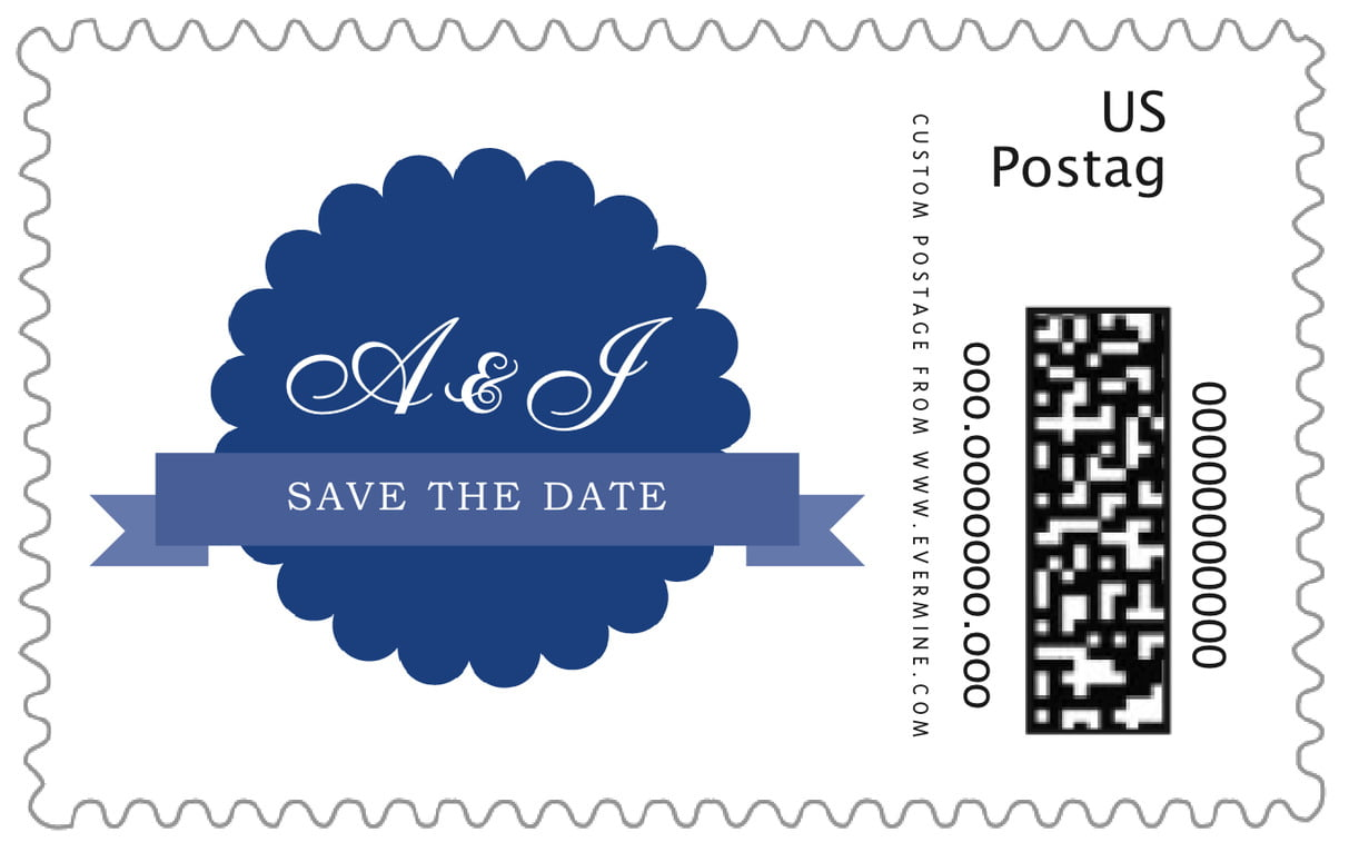 custom large postage stamps - deep blue - luxe (set of 20)