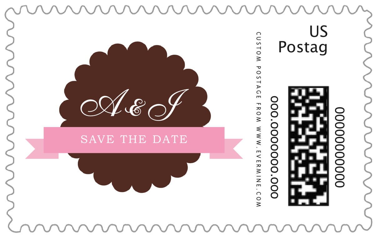 custom large postage stamps - cocoa & pink - luxe (set of 20)