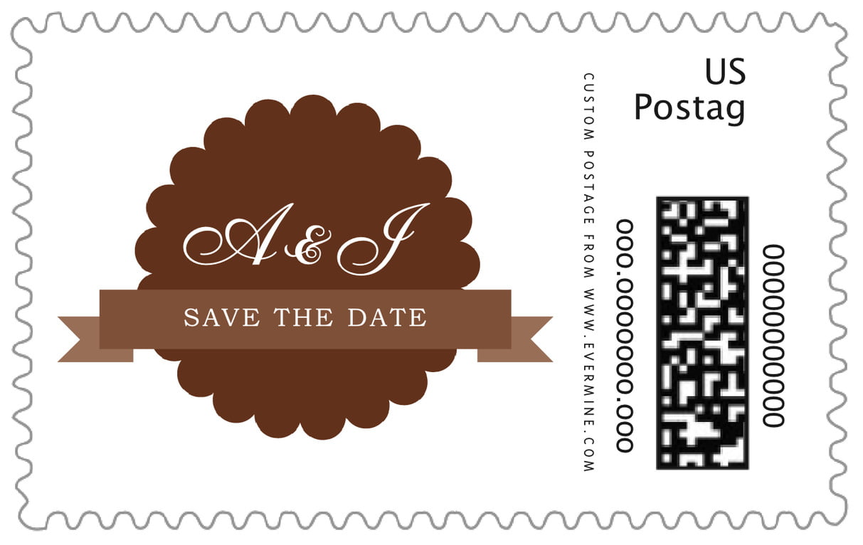 custom large postage stamps - chocolate - luxe (set of 20)