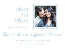 custom save-the-date cards - blue - love (set of 10)