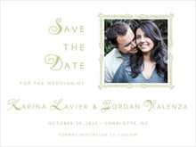 custom save-the-date cards - green tea - love (set of 10)