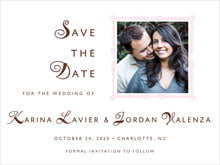 custom save-the-date cards - cocoa & pink - love (set of 10)