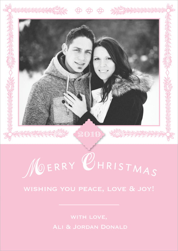 holiday cards - pale pink - love (set of 10)