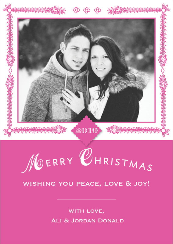 holiday cards - bright pink - love (set of 10)