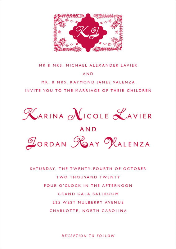 custom invitations - deep red - love (set of 10)
