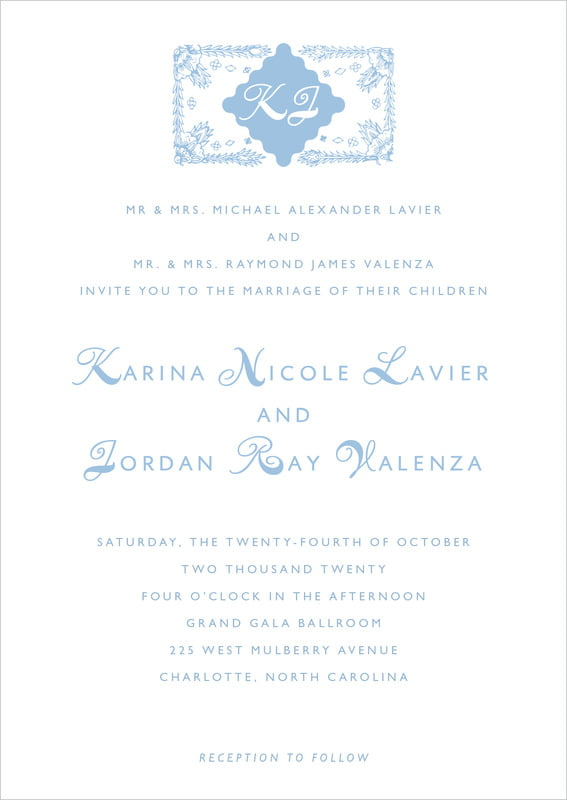 custom invitations - blue - love (set of 10)