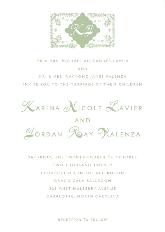 custom invitations - sage - love (set of 10)