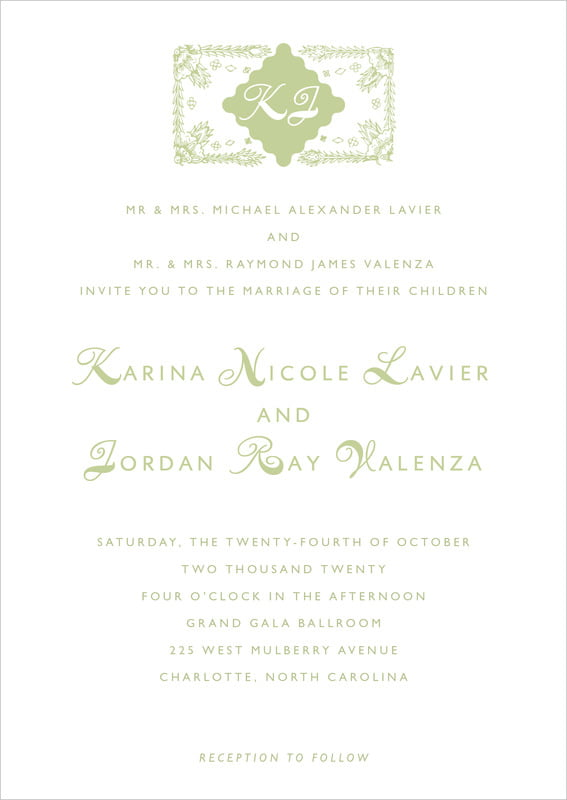 custom invitations - green tea - love (set of 10)