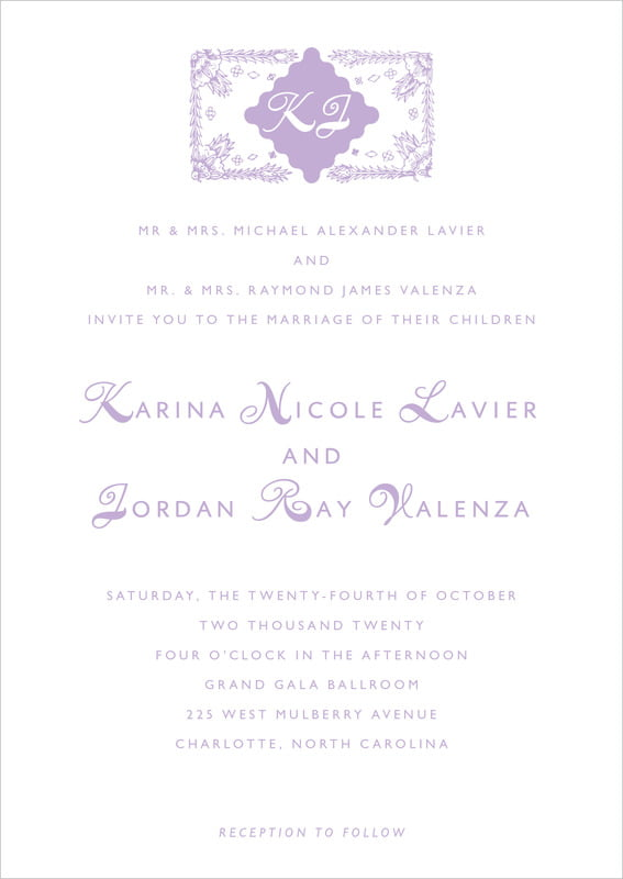 custom invitations - lilac - love (set of 10)