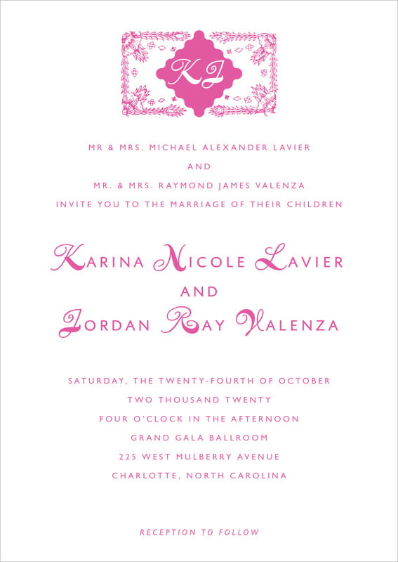 custom invitations - bright pink - love (set of 10)