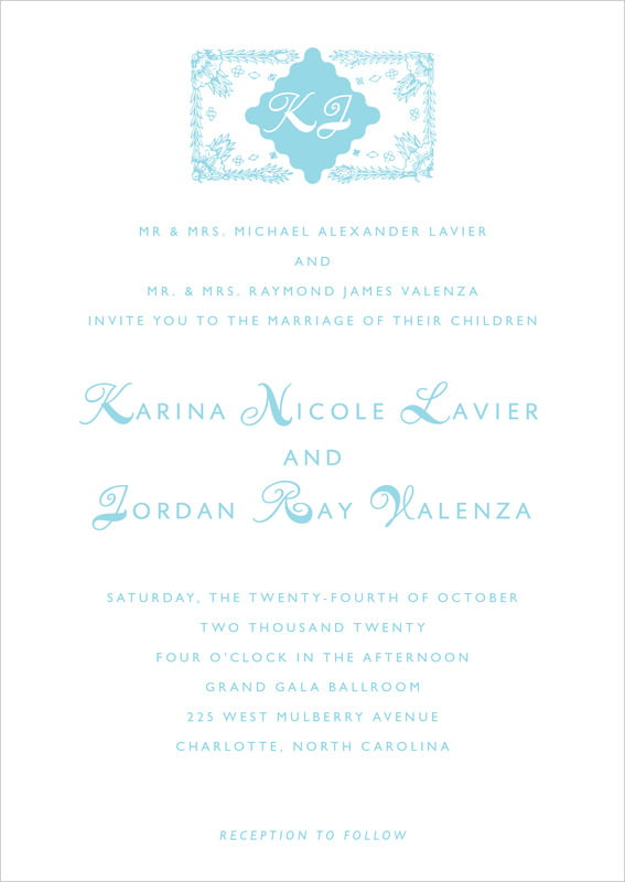 custom invitations - bahama blue - love (set of 10)