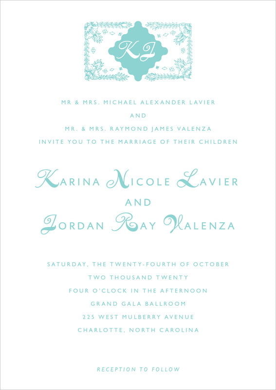 custom invitations - aruba - love (set of 10)