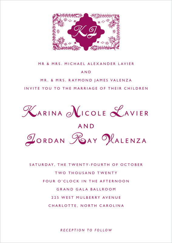 custom invitations - burgundy - love (set of 10)