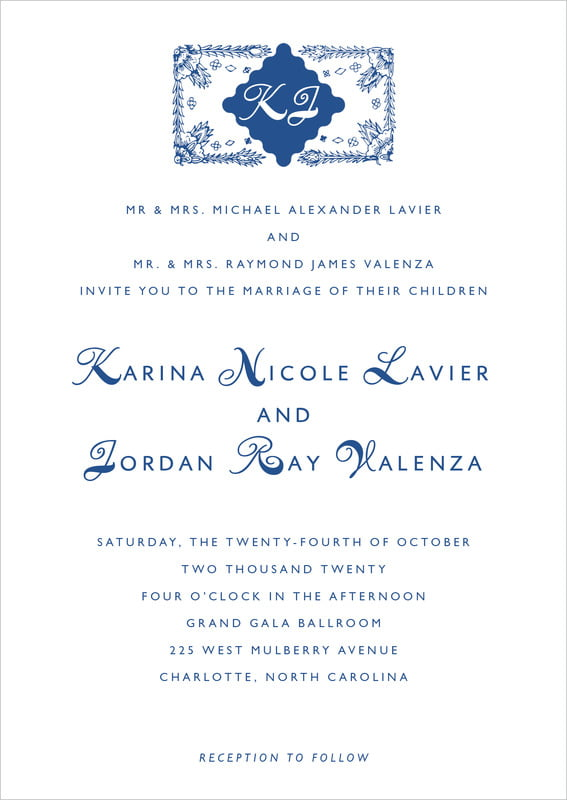 custom invitations - deep blue - love (set of 10)