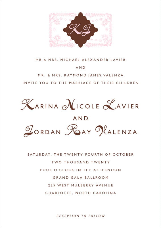 custom invitations - cocoa & pink - love (set of 10)