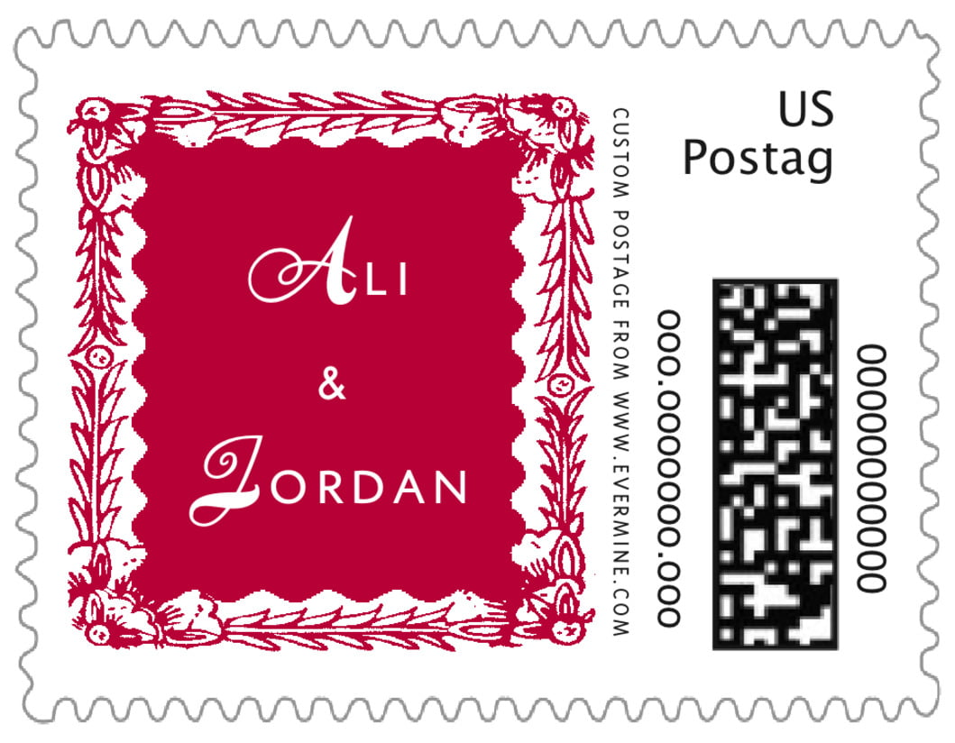 small custom postage stamps - deep red - love (set of 20)