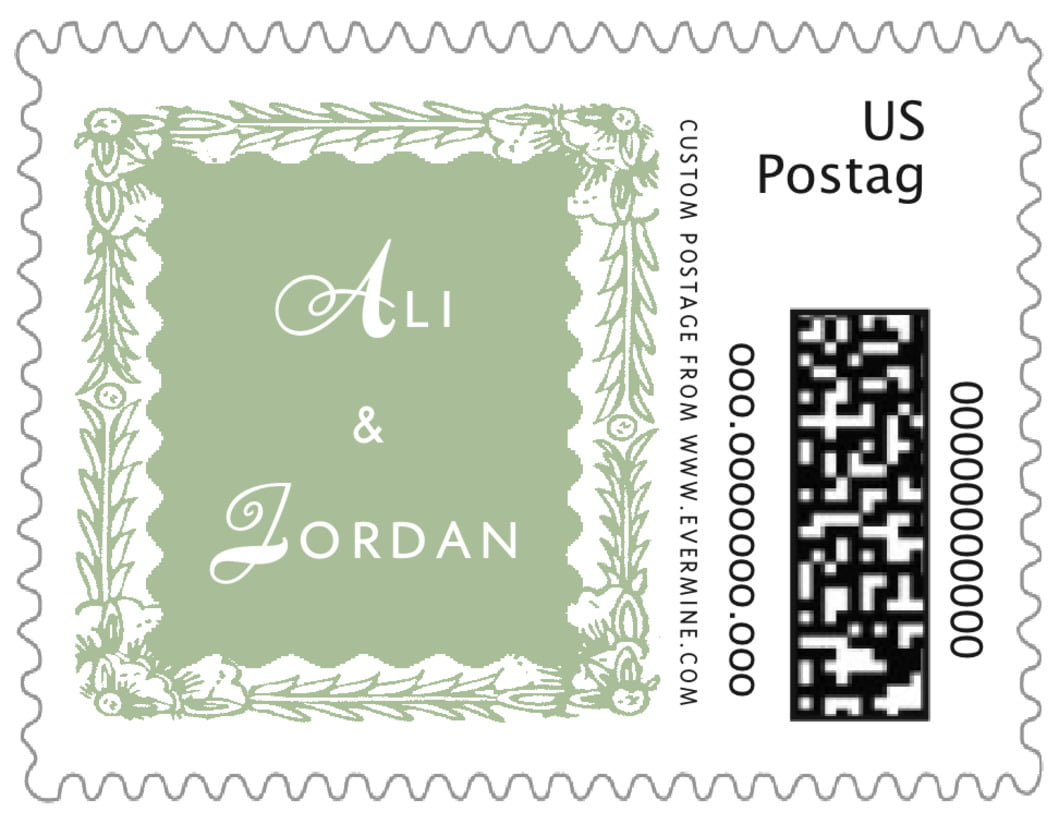 small custom postage stamps - sage - love (set of 20)