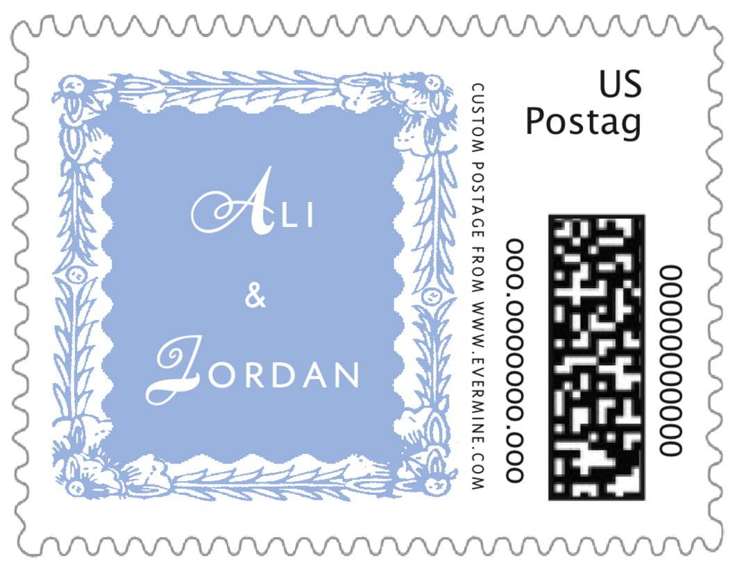 small custom postage stamps - periwinkle - love (set of 20)