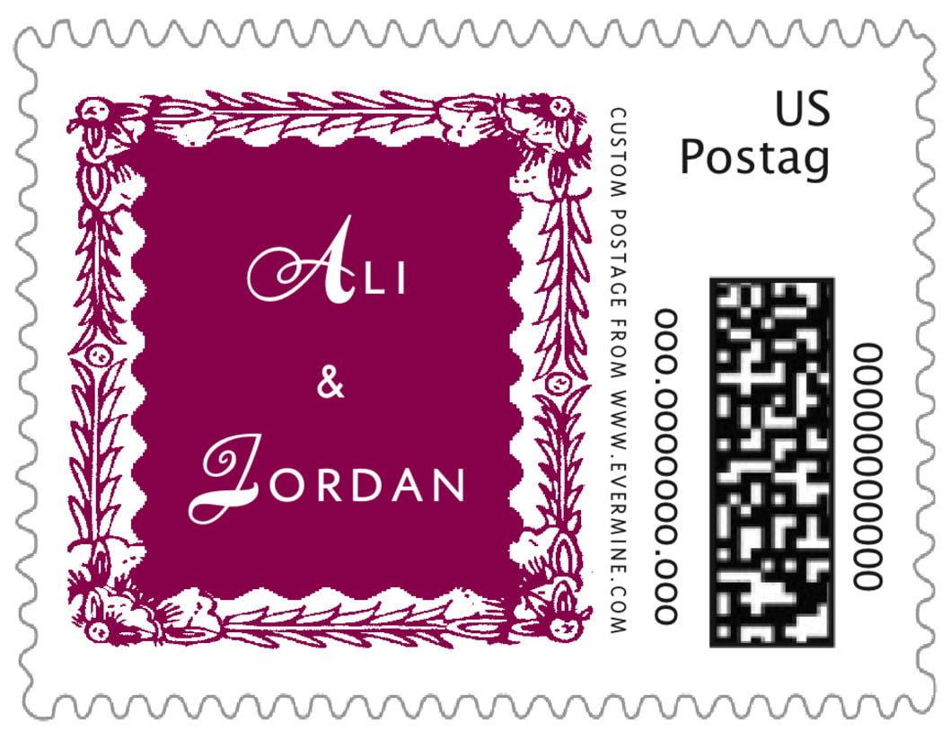 small custom postage stamps - burgundy - love (set of 20)