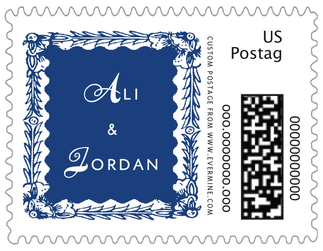 small custom postage stamps - deep blue - love (set of 20)