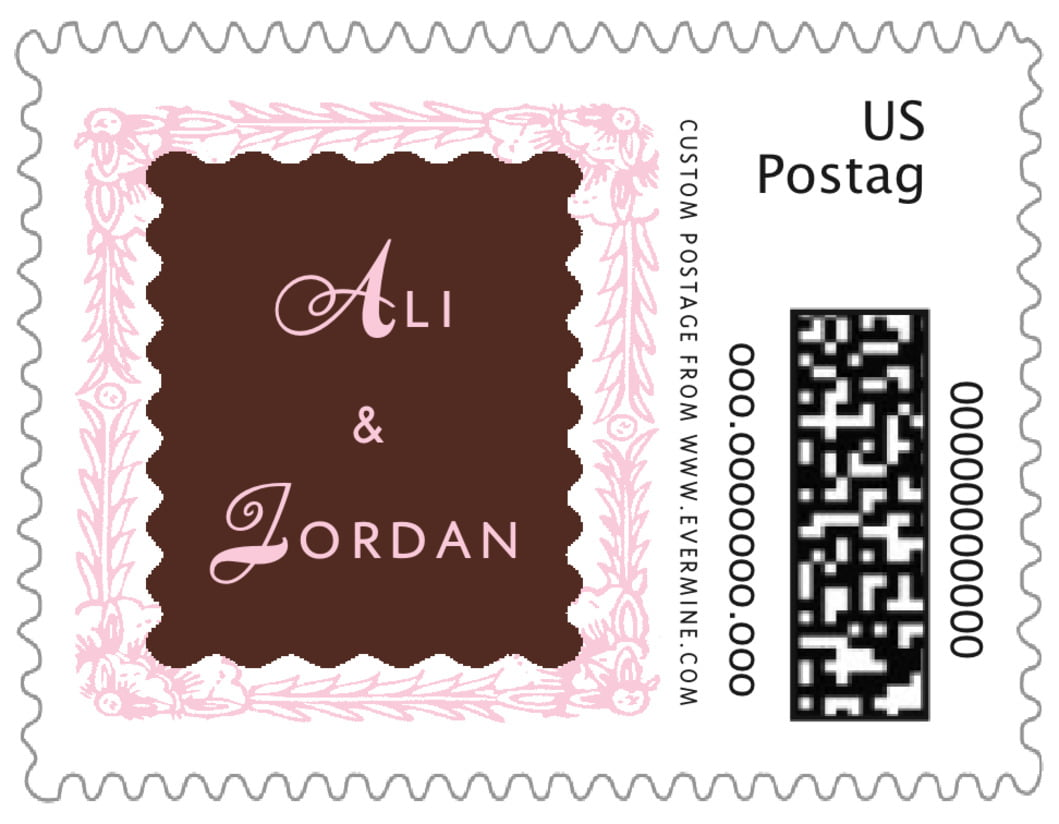 small custom postage stamps - cocoa & pink - love (set of 20)
