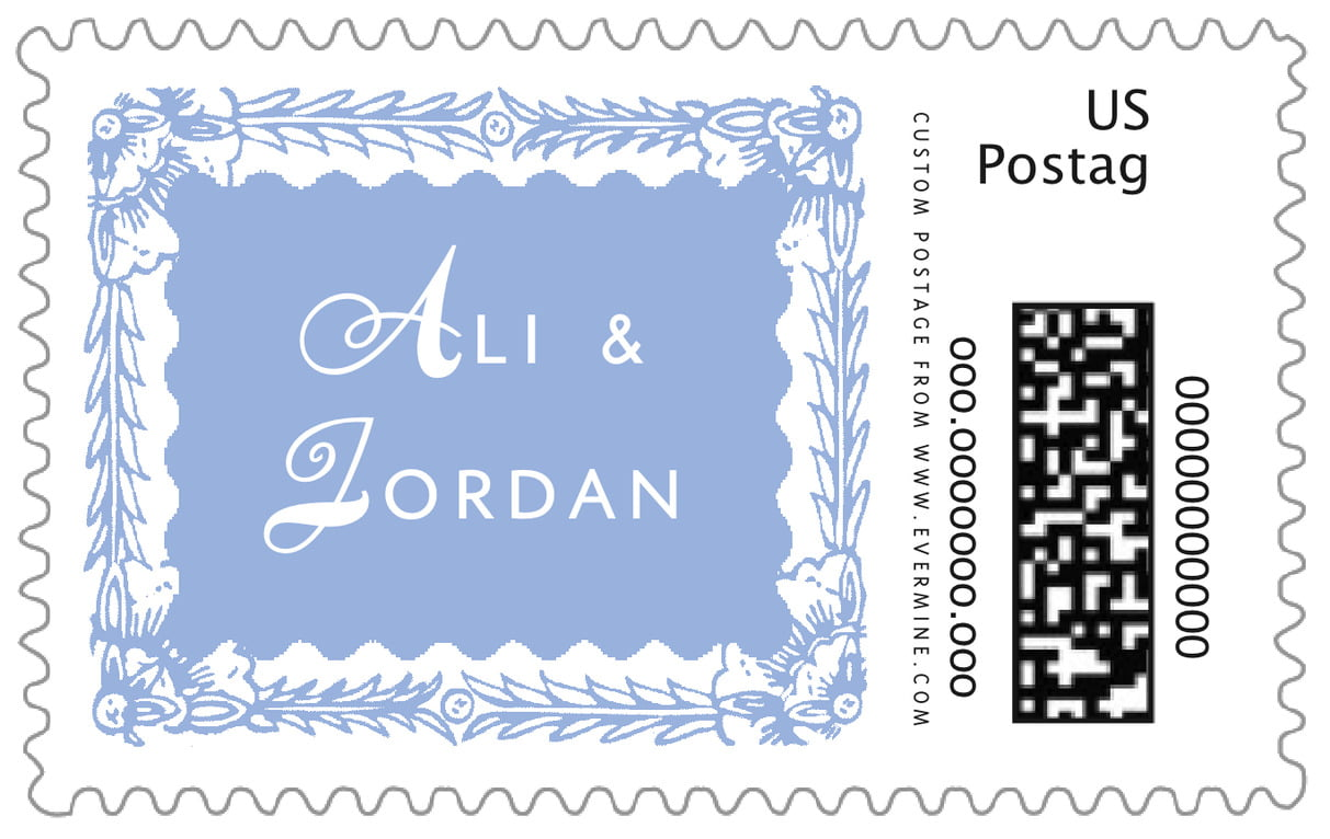 custom large postage stamps - periwinkle - love (set of 20)