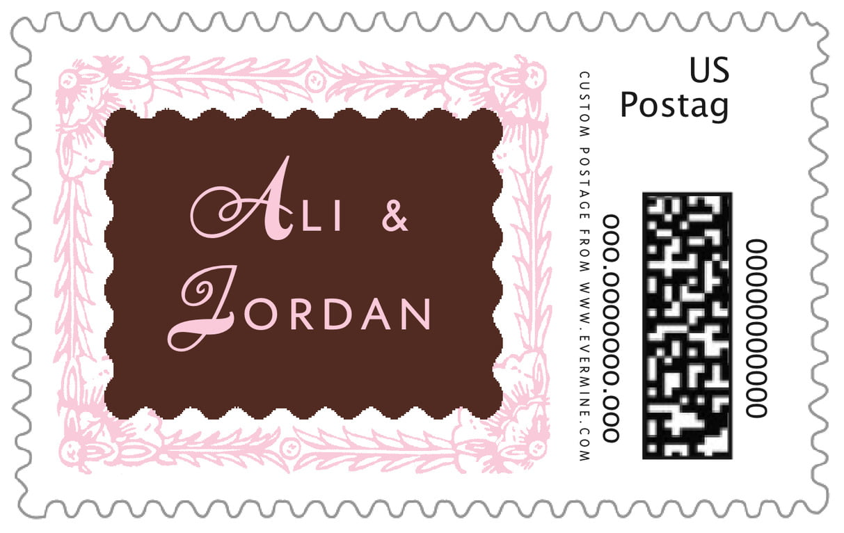 custom large postage stamps - cocoa & pink - love (set of 20)