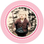 Lolly Circle Photo Label In Pale Pink