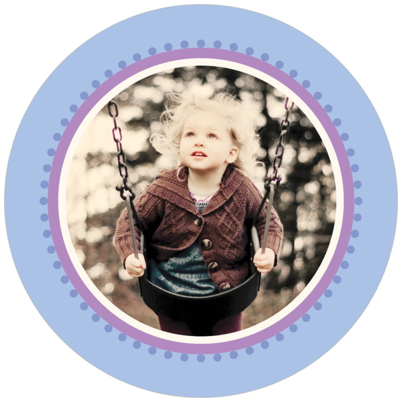 circle photo labels - periwinkle - lolly (set of 20)