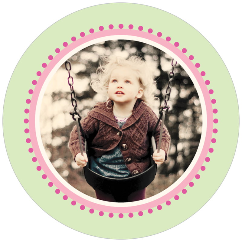 circle photo labels - island green - lolly (set of 20)