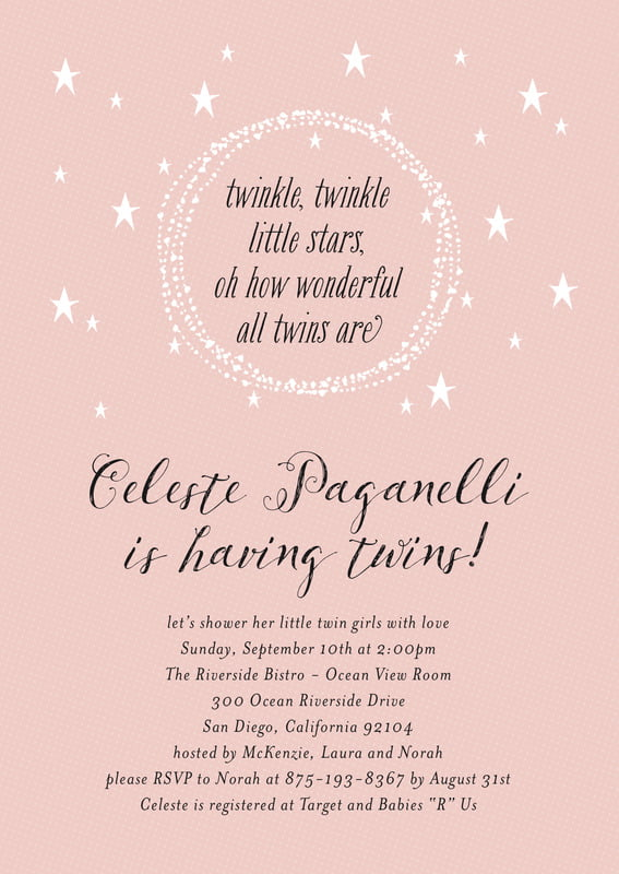 baby shower invitations - blush - little star (set of 10)