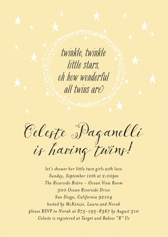 baby shower invitations - sunburst - little star (set of 10)