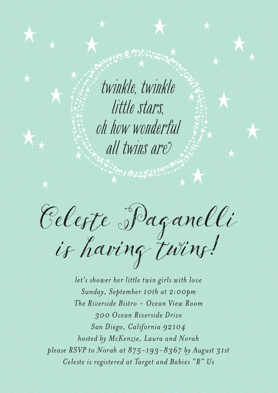 baby shower invitations - sea glass - little star (set of 10)