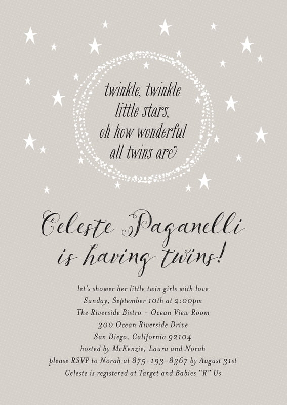 baby shower invitations - stone - little star (set of 10)