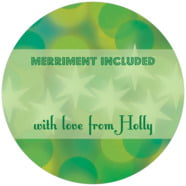 Merry & Bright Large Circle Gift Label In Green