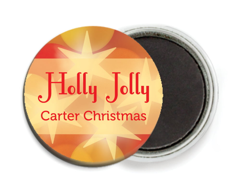 custom button magnets - red - merry & bright (set of 6)