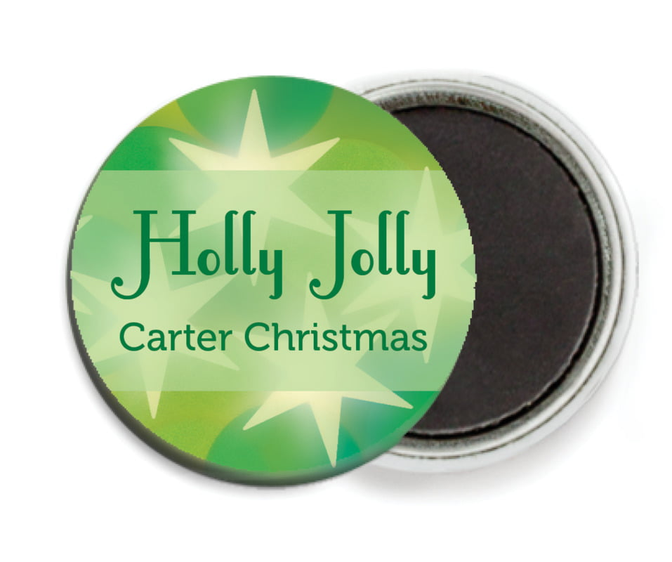 custom button magnets - green - merry & bright (set of 6)