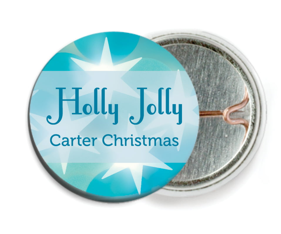 custom pin back buttons - ice blue - merry & bright (set of 6)