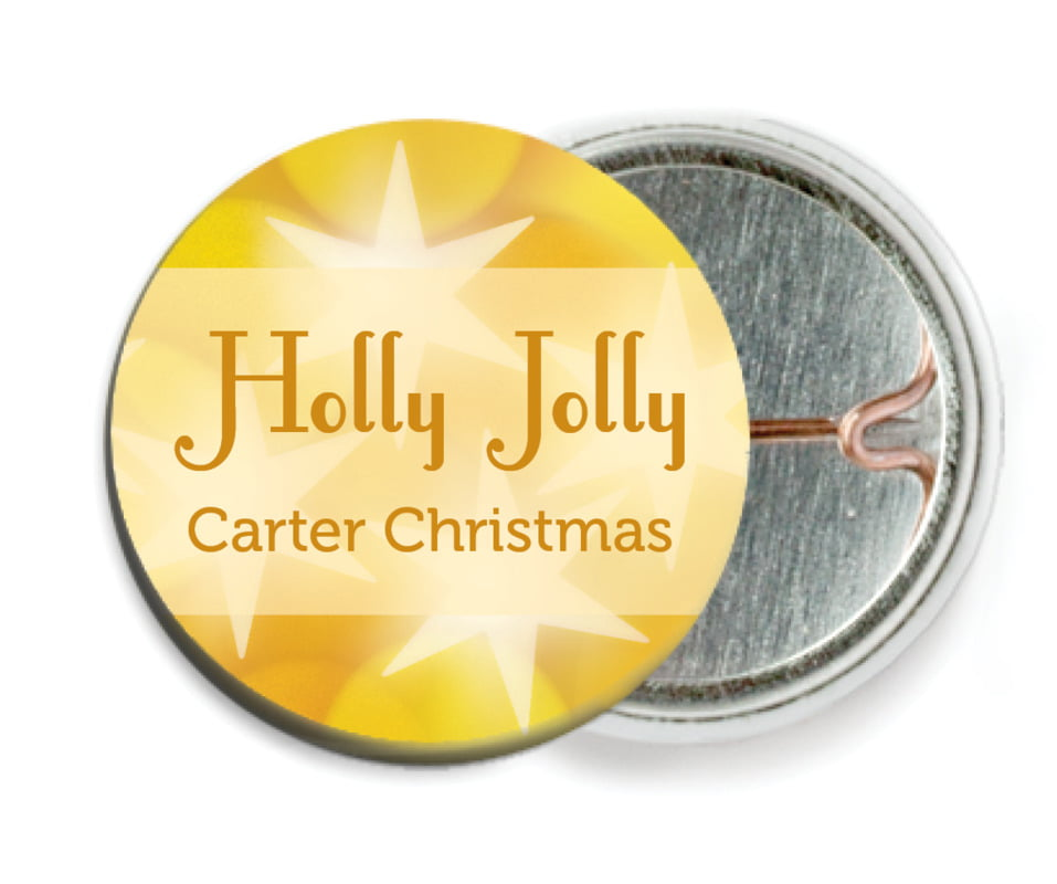 custom pin back buttons - sunburst - merry & bright (set of 6)