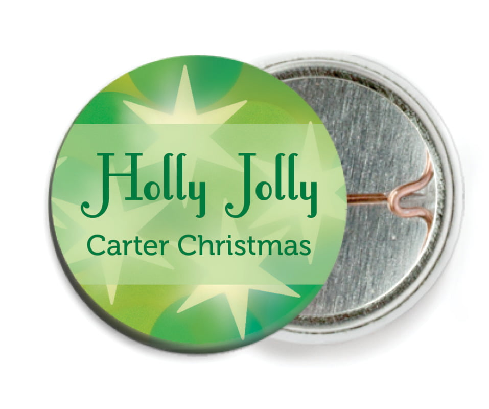 custom pin back buttons - green - merry & bright (set of 6)