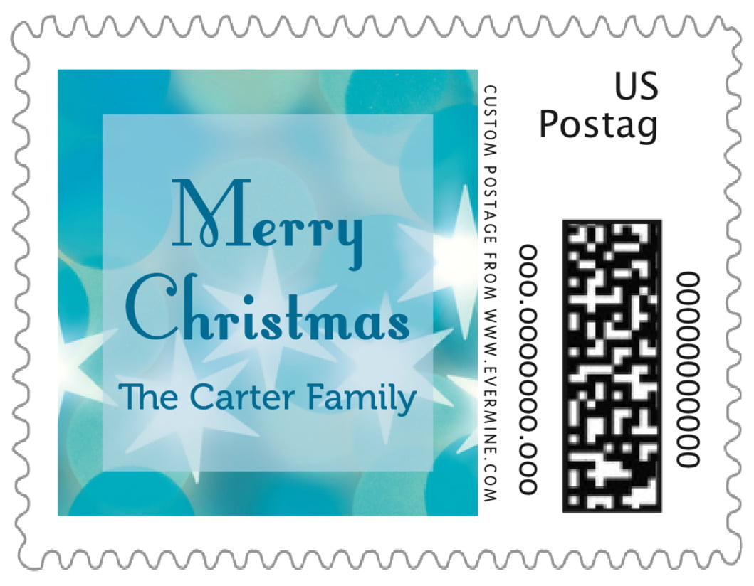 small custom postage stamps - ice blue - merry & bright (set of 20)