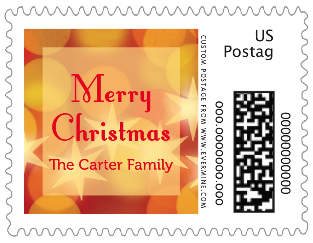 small custom postage stamps - red - merry & bright (set of 20)