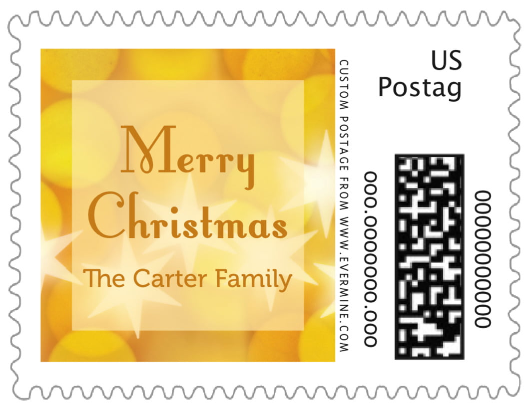 small custom postage stamps - sunburst - merry & bright (set of 20)
