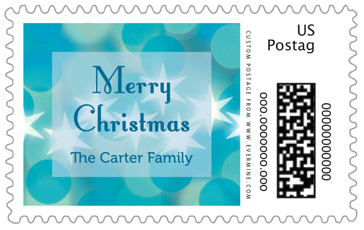 custom large postage stamps - ice blue - merry & bright (set of 20)