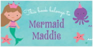 Mermaid Small Bookplate In Purple