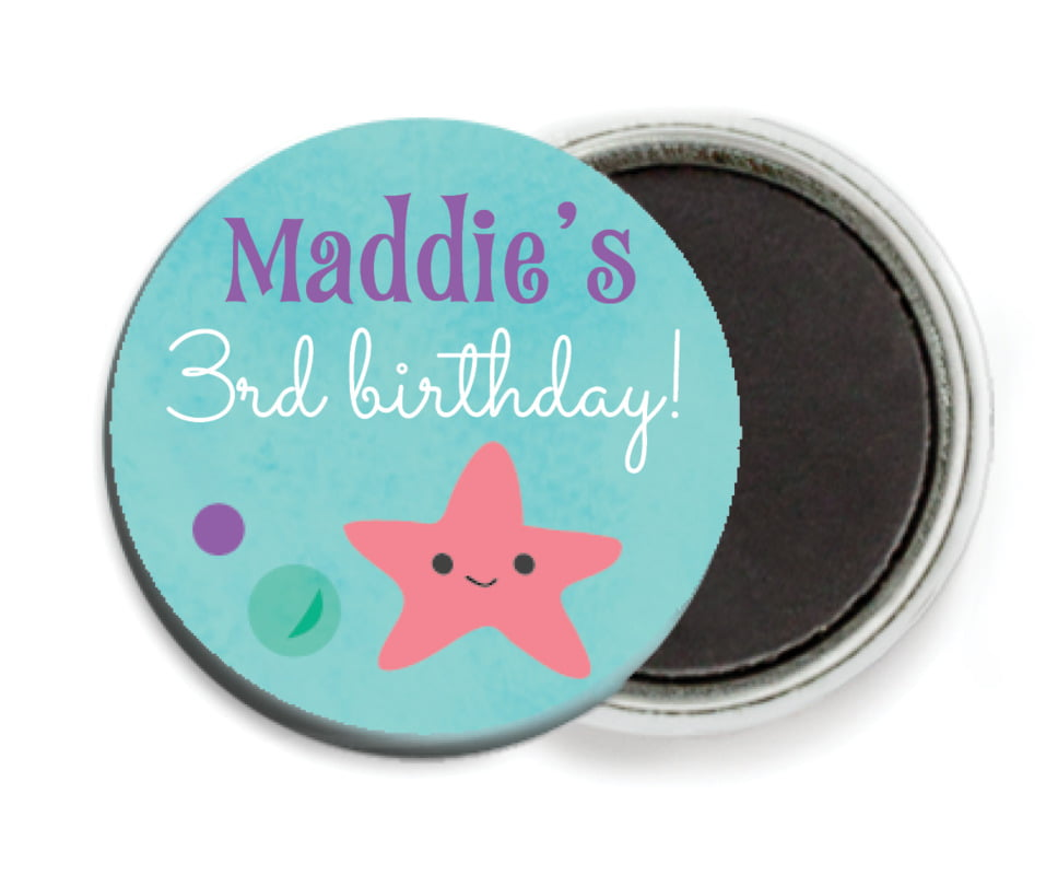 custom button magnets - purple - mermaid (set of 6)