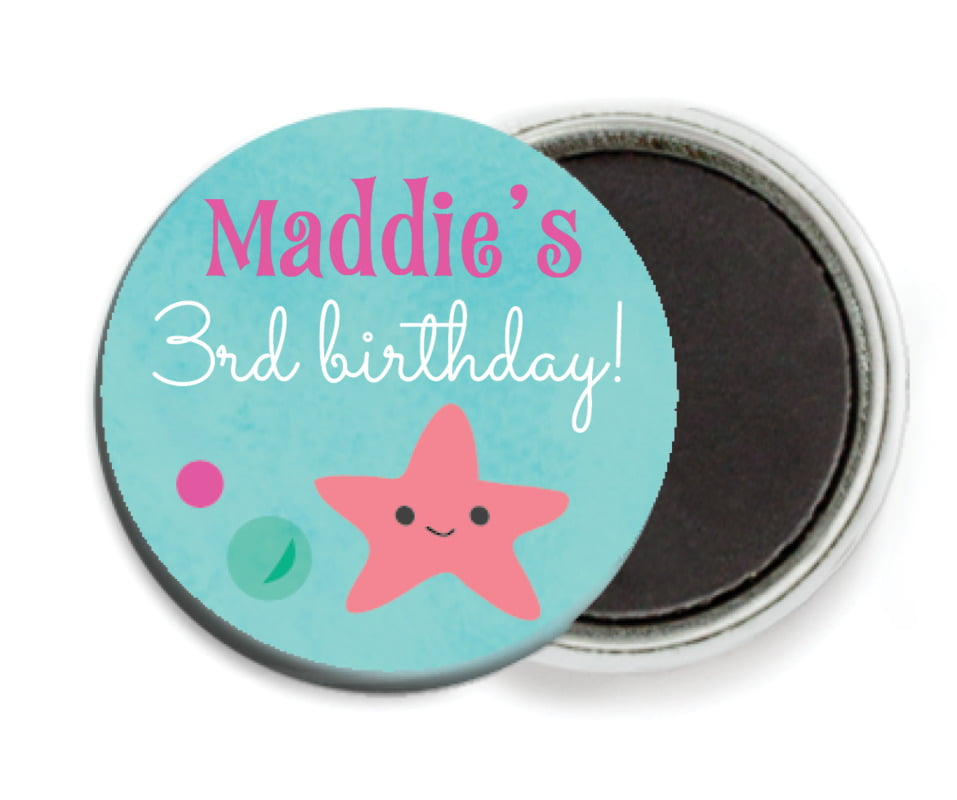 custom button magnets - bright pink - mermaid (set of 6)