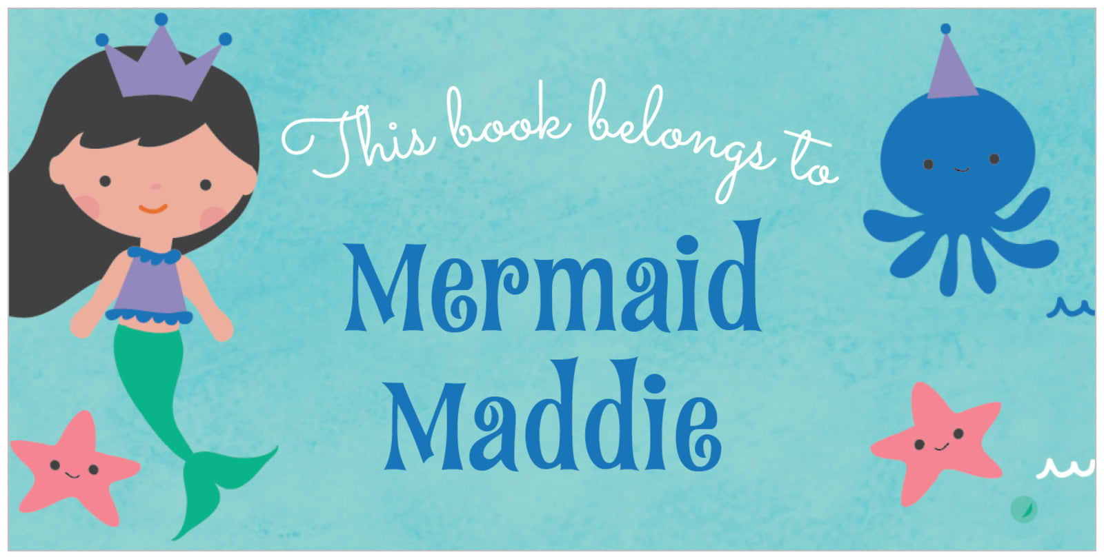 bookplates for everyone - cobalt - mermaid (set of 24)