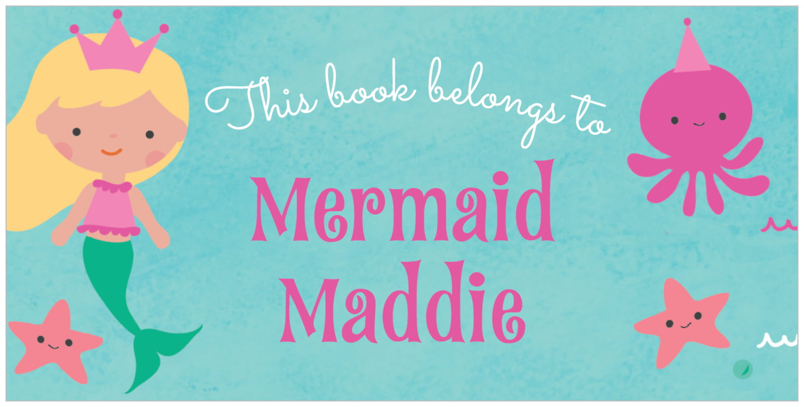 bookplates for everyone - bright pink - mermaid (set of 24)